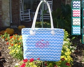Turquoise Chevron Beach Tote, Bridesmaid Gift, Beach Bag Canvas Chevron and Seersucker Colors