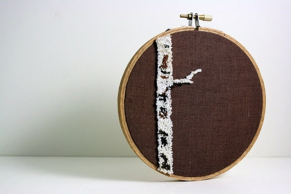 Birch Tree Punch Needle Embroidery Hoop Art. Eco Friendly Home or Cottage Decor Fiber Art. White, Cream, Brown, Natural Colors.
