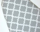Designer Ironing Board Cover - Gray White - Quatrefoil Moroccan Lattice - Laundry - Sewing - Craft - Cover for Iron Board