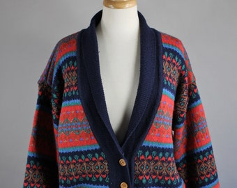 Vintage 80s Women's Navy Red Fair Isle Nordic Style Winter Cardigan Sweater