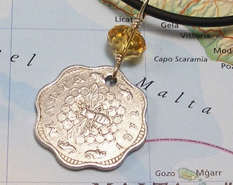 Malta, Vintage Coin Necklace - - Sweet As Honey - - Honey Bee - Exotic Places - Far and Away - World Treasures