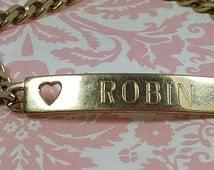 "PERSONALIZED ""ROBIN"" BRACELET, Gold Tone, Speidel, Vintage Costume, Fashion Jewlery"