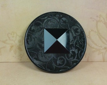 "Black Glass ""Imitation Fabric"" Button, Very Large, 4-Way Box Shank, Pre-World War 1, Vintage. Antique, Old Glass"