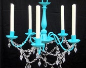 5 Arm Royal Blue Candle Chandelier with Acrylic Crystals