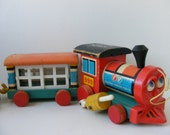 Vintage Fisher Price Train, 1963 Huffy Puffy #999, Huffy Puffy 4 Pc Set, Wood Train Pull Toy, Wood 4 Car Pull Toy, Fisher Price #999