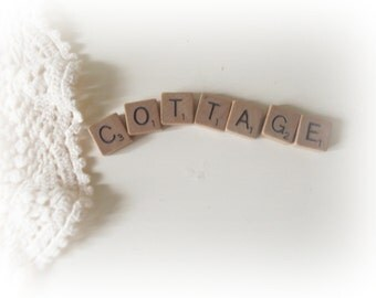 Scrabble Letters COTTAGE Word Blocks Cottage Sign Shabby Cottage Chic Decor Farmhouse Decor
