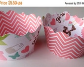 CLOSEOUT SALE Its a Girl Gender Reveal colored striped Cupcake wrappers SET of 12