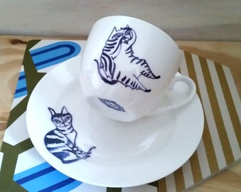 Tabby cat tea cup and saucer, cat cup and saucer