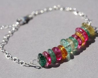 Multi-coloured quartz and sterling silver bar bracelet, summer bracelet.