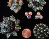 DISCOUNTED Blue/ Green Vintage rhinestone clip on earring and Jewlery destash upcycle repurpose lot