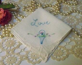 Bridal Something Blue, Something old, Bridal Keepsake, Lace Corner Handkerchief, Hanky, Hankie, Love, Floral, Personalized, Ready to ship