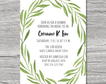 DIY Printable Watercolor Laurel Wreath Invitation