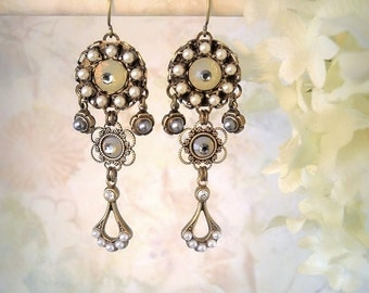 Evermore - Champagne Crystal and Ivory Pearl Earrings Ethereal Bridal Earrings Romantic Boho Edwardian Wedding Dainty Micro Mosaic Gatsby