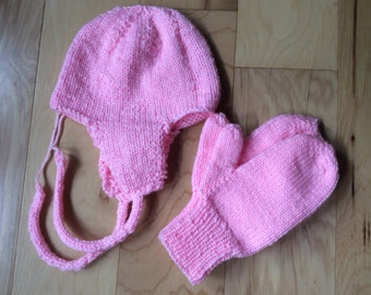 Petal Pink Mittens and ear flap Hat Set