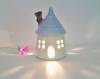 Garden Fairy House/ Night Light - with a  Baby Blue Roof, Chimney  -- Medium Size - Ready to Ship