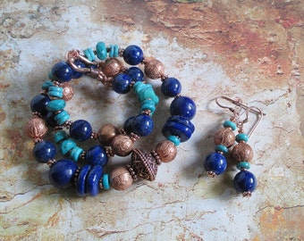 Necklace of Ka SET -- Lapis Turquoise Copper Necklace Earrings Set genuine gemstones