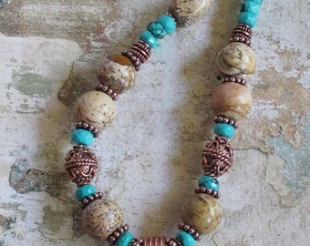 Oasis Necklace -- Picture Jasper Turquoise Copper Necklace