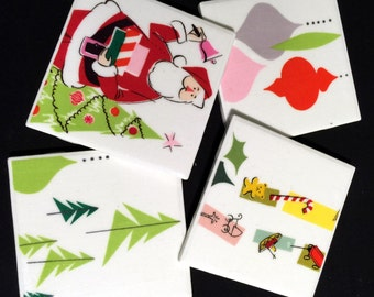 "Merry Moderns 3 - Retro Coasters - Mid Century Christmas - Ceramic Tiles & Fabric - Set of 4 - approx 4"" x 4"""