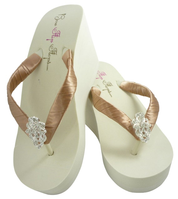 Ivory Wedge Flip Flops Wedding Bridal White Wedge Bride Platform Heel Flower Satin Shoes Sandals Beach $ 35 00 Prime.