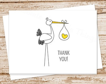 PRINTABLE stork baby thank you cards . baby stationery . folded note cards . notecards . gender neutral, yellow heart  . You Print