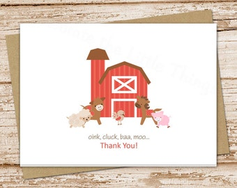PRINTABLE farm thank you cards . folded note cards . farm notecards . cow horse barn barnyard stationery
