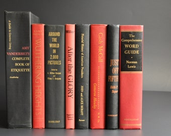 Vintage Black Red and Gold Book Bundle Lot Instant Collection 1950s Set of Eight Books Home Decor Display