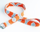 Orange Grey - Mixologie Cosmopolitan Mango Steel - Lanyard ID Badge Holder - Personalization Available - Key Strap - Ready to Ship