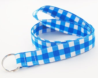 Blue Gingham - Lanyard ID Badge Holder - Personalization Available - Key Strap - Ready to Ship