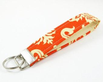 Handmade Soft Key Fob, Fabric Keychain - Joel Dewberry Aviary - Damask - Eggshell Interior