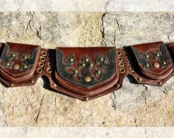 Leather Utility Belt |  Handmade Designer Pocket Belt | High Quality Hip Belt | Biker | Urban Gypsy | Burning Man | Festival Fashion |