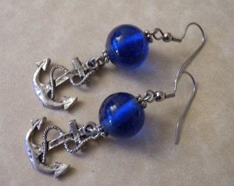 Cobalt Blue Anchor Earrings