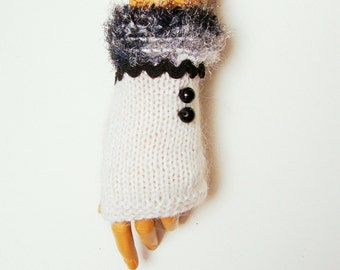 Hand Knit white Gloves Mitten Fingerless Gloves Arm Warmer Winter Accessories Fall Fashion, Holiday Accessories