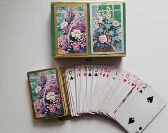 Vintage Congress Playing Cards Set,  Double Deck of Flowers in a Basket Vintage 70's Deck of Bridge Playing Cards, Velveteen Box, No Jokers