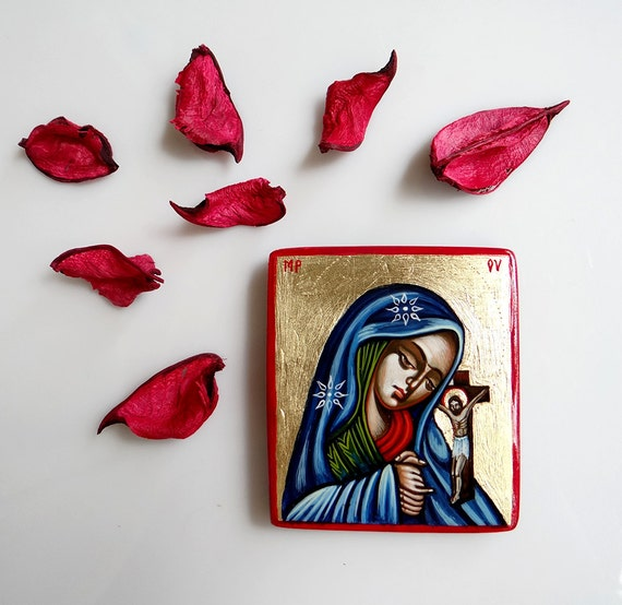 Virgin Mary and Christ handpainted icon, Mourning Madonna Icon, original orthodox  icon 6 1/2 by 3 inches