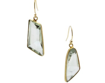 Chunky Green Amethyst Gold Earrings
