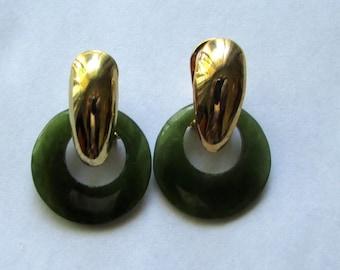 Green jade hoop earirngs