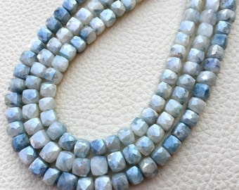 Brand New, Full 8 Inch Strand, Rare Royal Blue Shaded SILVERITE Faceted 3d Box Briolettes,6mm Amazing Item at Low Price