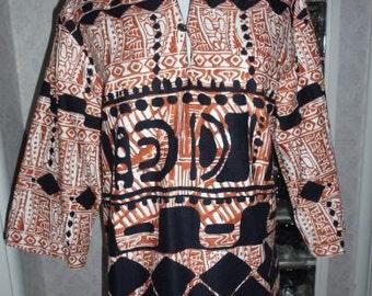 Vintage 70s 1970s Malhini Hawaii Shirt Black Rust Batik Bark Cloth Sleeve Tunic Tiki M Medium Unique