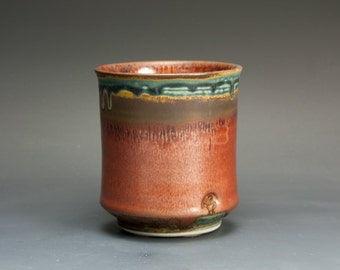 Porcelain tea cup tea bowl brick red Japanese yunomi 14 oz. 2724