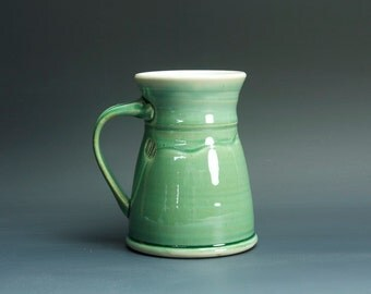 Pottery coffee mug, ceramic mug, stoneware tea cup jade green 16 oz 3366