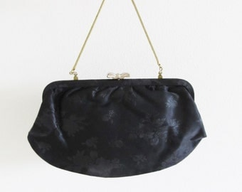 Vintage 1950's Black Brocade Clutch Purse / Formal Black Bow Evening Bag
