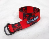 Fat Nylon Belt - Red with Black Skull and Cross Bones