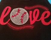 Baseball Shirt-Lots of sparkles and bling-Customized in your team colors and can be done in baseball or softball
