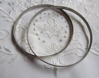 Vintage Silver Tone Set of Bangle Bracelets with Raised Designs