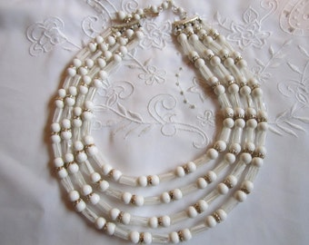 Vintage Silver Tone Four-Strand Faux Pearl and Clear Glass Beaded Necklace