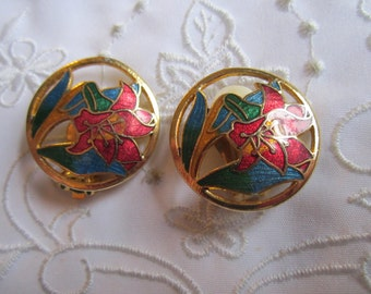 Vintage Cloisenne Clip On Earrings with Red Flower, Blue and Green Leaves