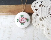 secret THORN vintage hand painted rose locket | flower | locket | gold | burgundy | red | bloom | garden | gifts under 25