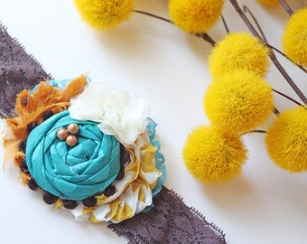 End of Summer- mustard, ivory, brown, aqua and teal ruffle and rosette headband