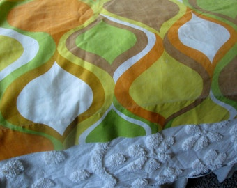 Vintage Twin Flat Sheet, Mod Style by Cannon, Green, Orange, Brown, Gold