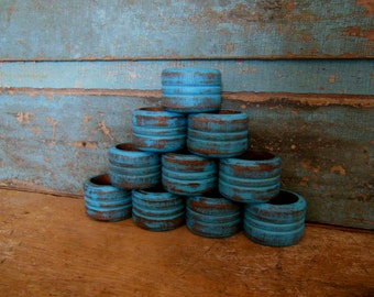 Turquoise Painted Distressed Wooden Napkin Rings Set of 10